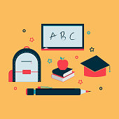 Education icons. School tool flat icon. Free royalty images.