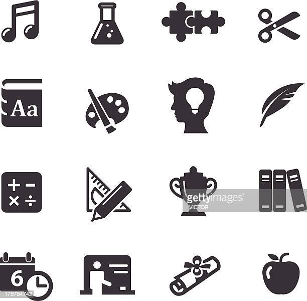 education icons set 2-acme series - quill pen stock illustrations