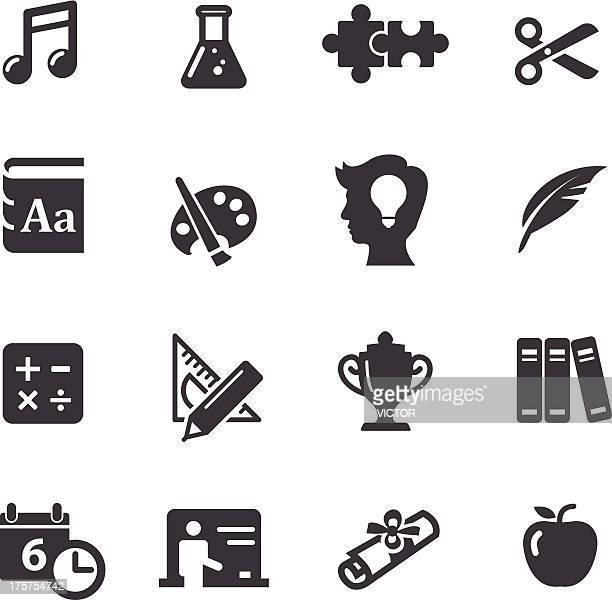 ilustraciones, imágenes clip art, dibujos animados e iconos de stock de conjunto de iconos de educación 2-serie acme - plumadeescribir
