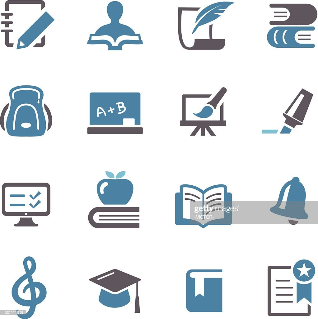 Education Icons Set - Conc Series