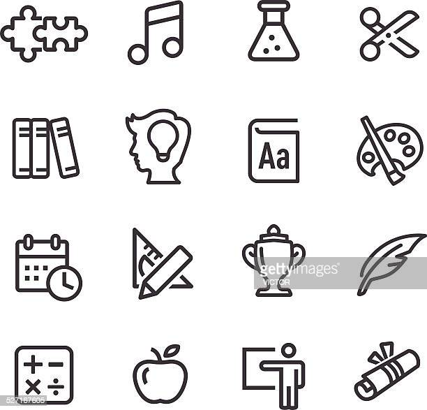 education icons set - line series - quill pen stock illustrations
