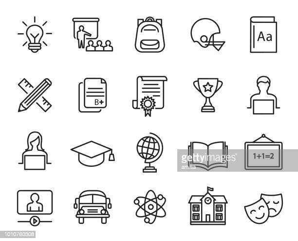 education icons set - learning stock illustrations