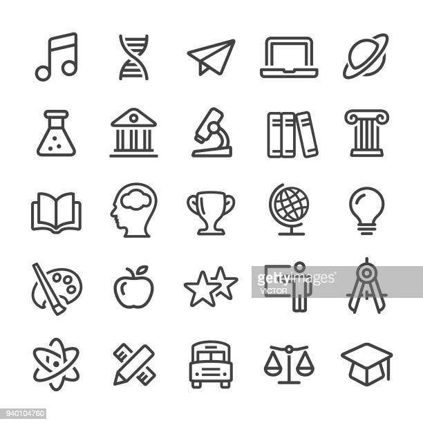 education icons - smart line series - library stock illustrations