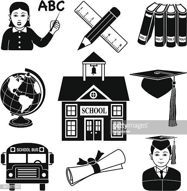 ilustrações, clipart, desenhos animados e ícones de ícones de educação - enciclopédia