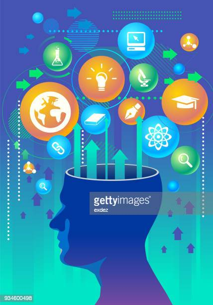 education idea thinking - editorial stock illustrations