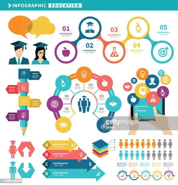 education infographic elements - students stock illustrations, clip art, cartoons, & icons