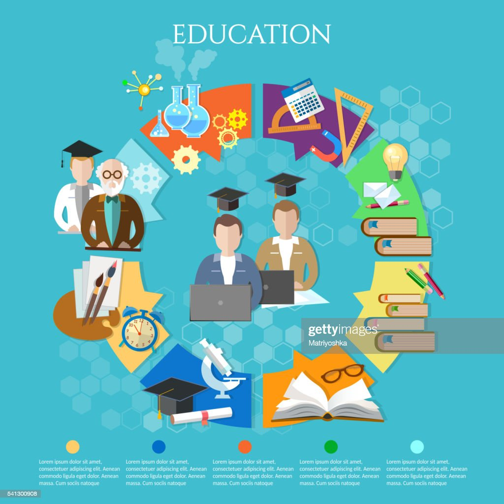 Education infographic open book of knowledge