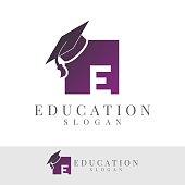 education initial Letter E icon design