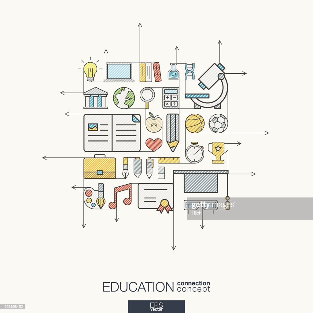 Education integrated thin line symbols. Modern color vector concept