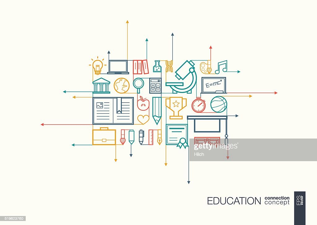 Education integrated thin line symbols