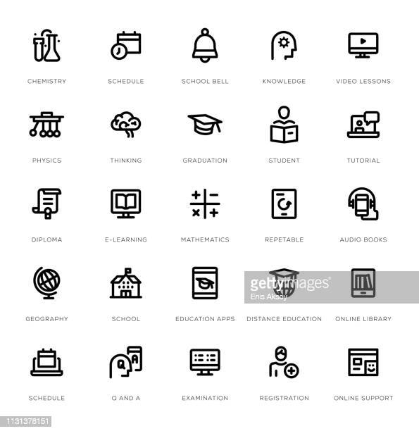 education line icon set - educational subject stock illustrations
