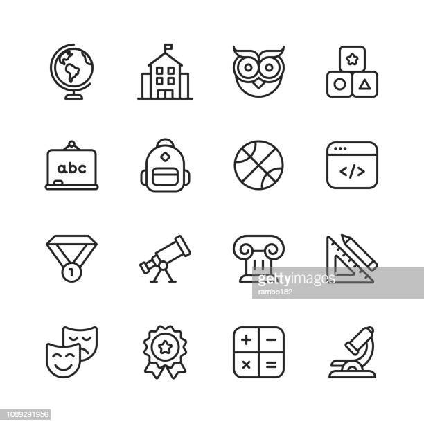 education line icons. editable stroke. pixel perfect. for mobile and web. contains such icons as school, programming, award, sport, childhood education. - owl stock illustrations