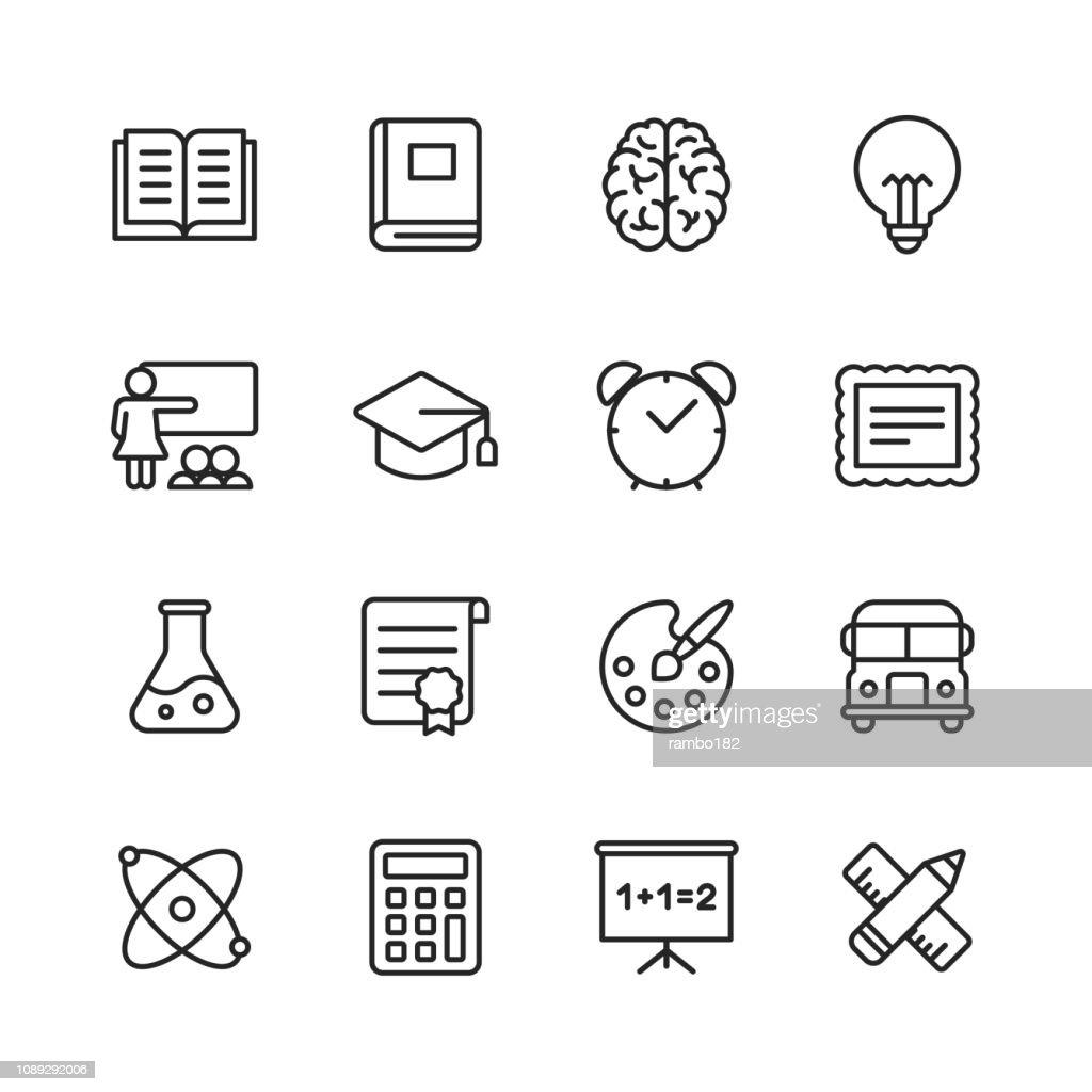 Icone della linea di formazione. Tratto modificabile. Pixel Perfetto. Per dispositivi mobili e Web. Contiene icone come Libro, Cervello, Ispirazione, ScuolaBus, Certificato. : Illustrazione stock