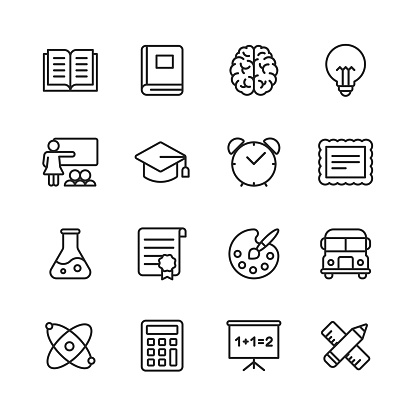Education Line Icons. Editable Stroke. Pixel Perfect. For Mobile and Web. Contains such icons as Book, Brain, Inspiration, School Bus, Certificate. - gettyimageskorea