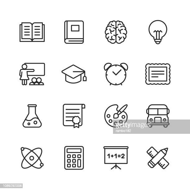 education line icons. editable stroke. pixel perfect. for mobile and web. contains such icons as book, brain, inspiration, school bus, certificate. - library stock illustrations