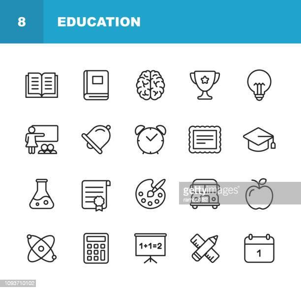 illustrations, cliparts, dessins animés et icônes de icônes de l'éducation de ligne. modifiables en course. pixel perfect. pour web et mobile. contient des icônes comme livre, cerveau, inspiration, autobus scolaire, certificat. - cloche