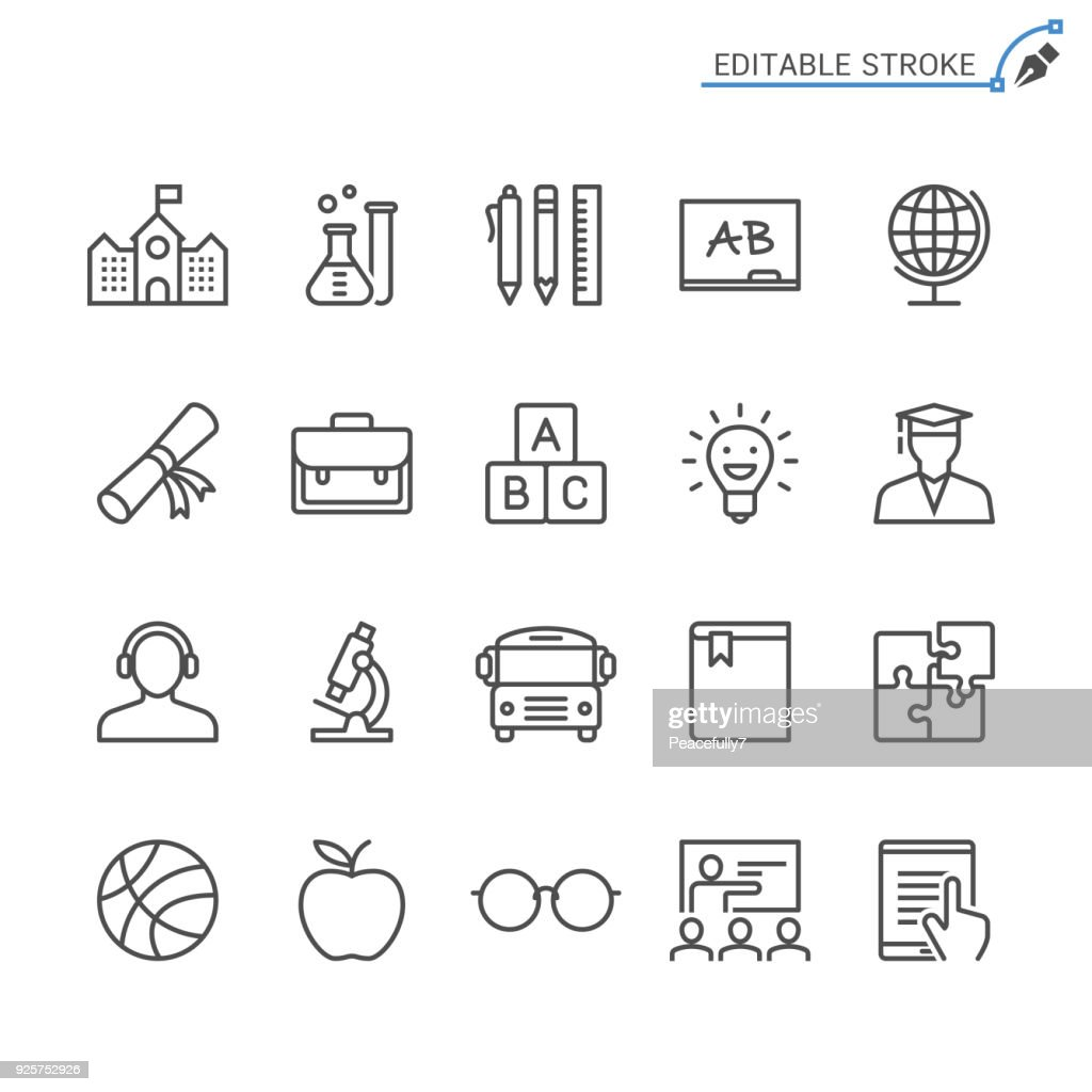 Education line icons. Editable stroke. Pixel perfect.