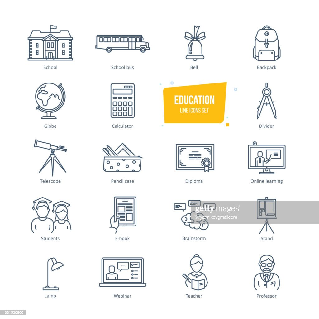 Education line icons set. Icons for online education and learning