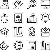 Education line icons set. Modern graphic design concepts, simple outline elements collection. Vector line icons