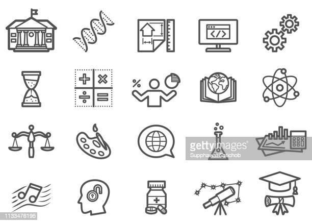 education line icons set - philosophy stock illustrations