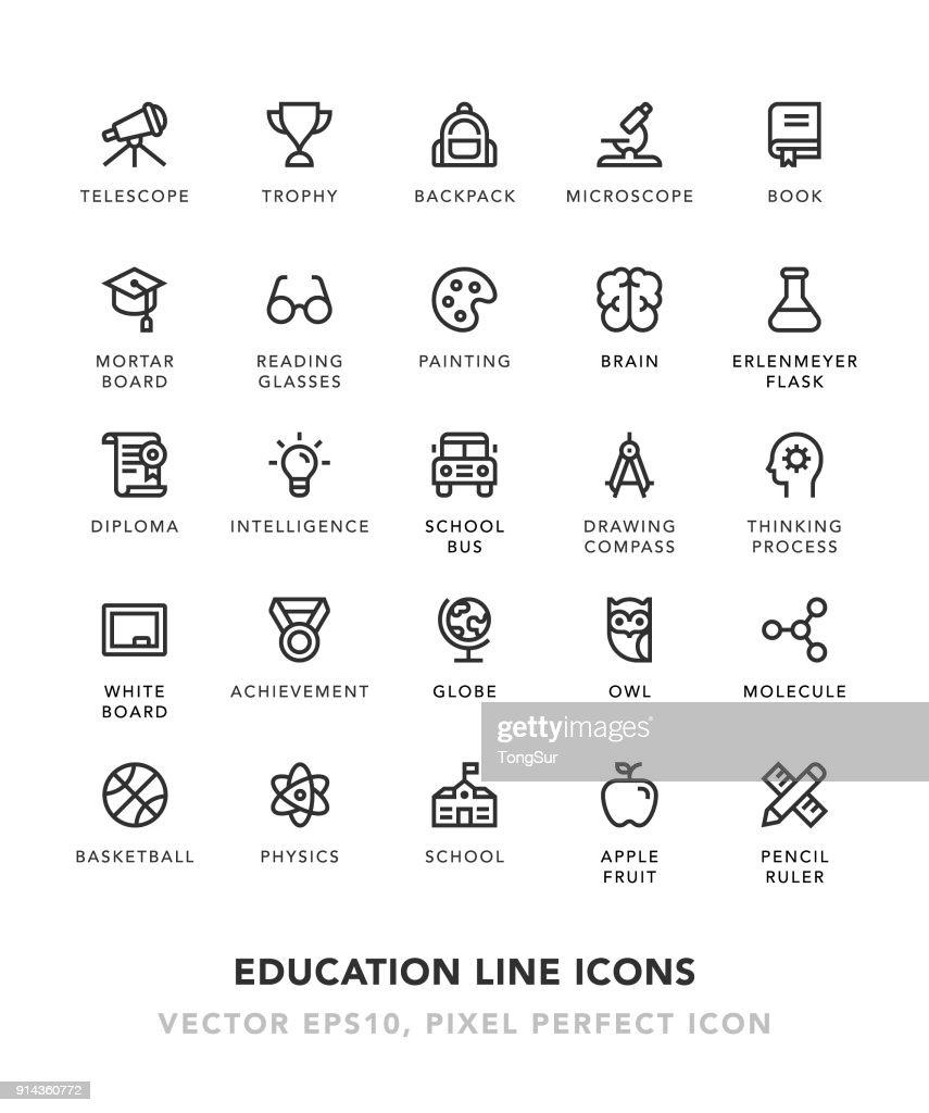 Education Line Icons : Stock Illustration