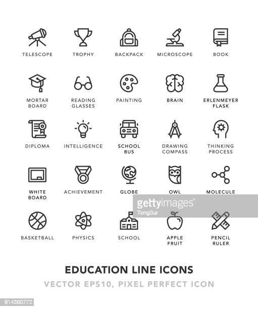 education line icons - owl stock illustrations