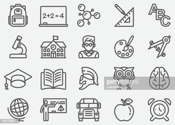 education line icons - history stock illustrations