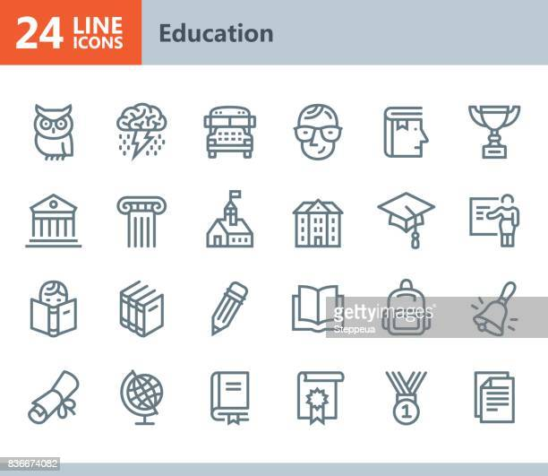 education - line vector icons - showing stock illustrations