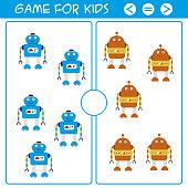 Education logic game for preschool kids.Cartoon funny robots