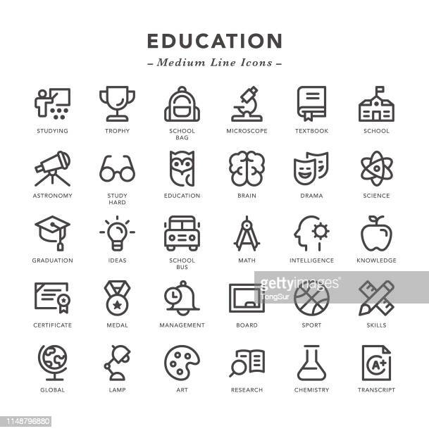 ilustrações de stock, clip art, desenhos animados e ícones de education - medium line icons - optical art