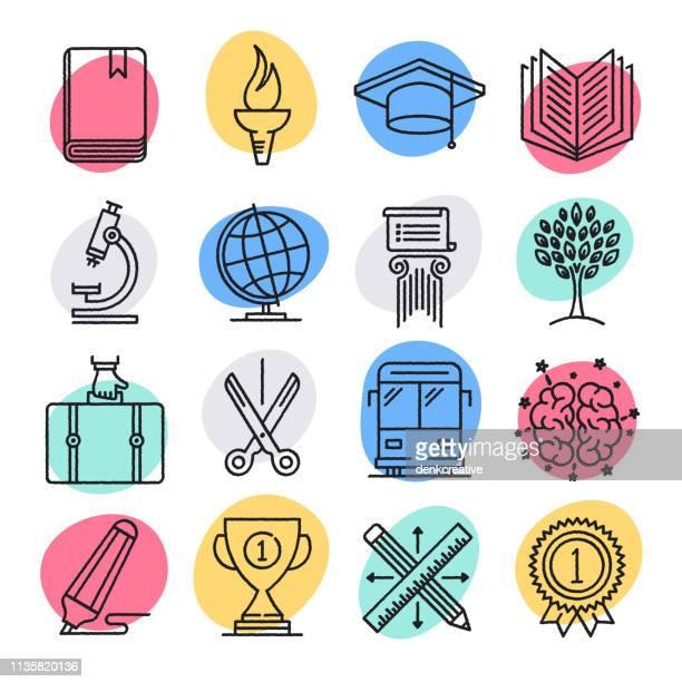 education & national development doodle style vector icon set - weisheit stock-grafiken, -clipart, -cartoons und -symbole