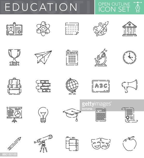 ilustraciones, imágenes clip art, dibujos animados e iconos de stock de conjunto de iconos de contorno abierto educación en estilo de diseño plano - birrete