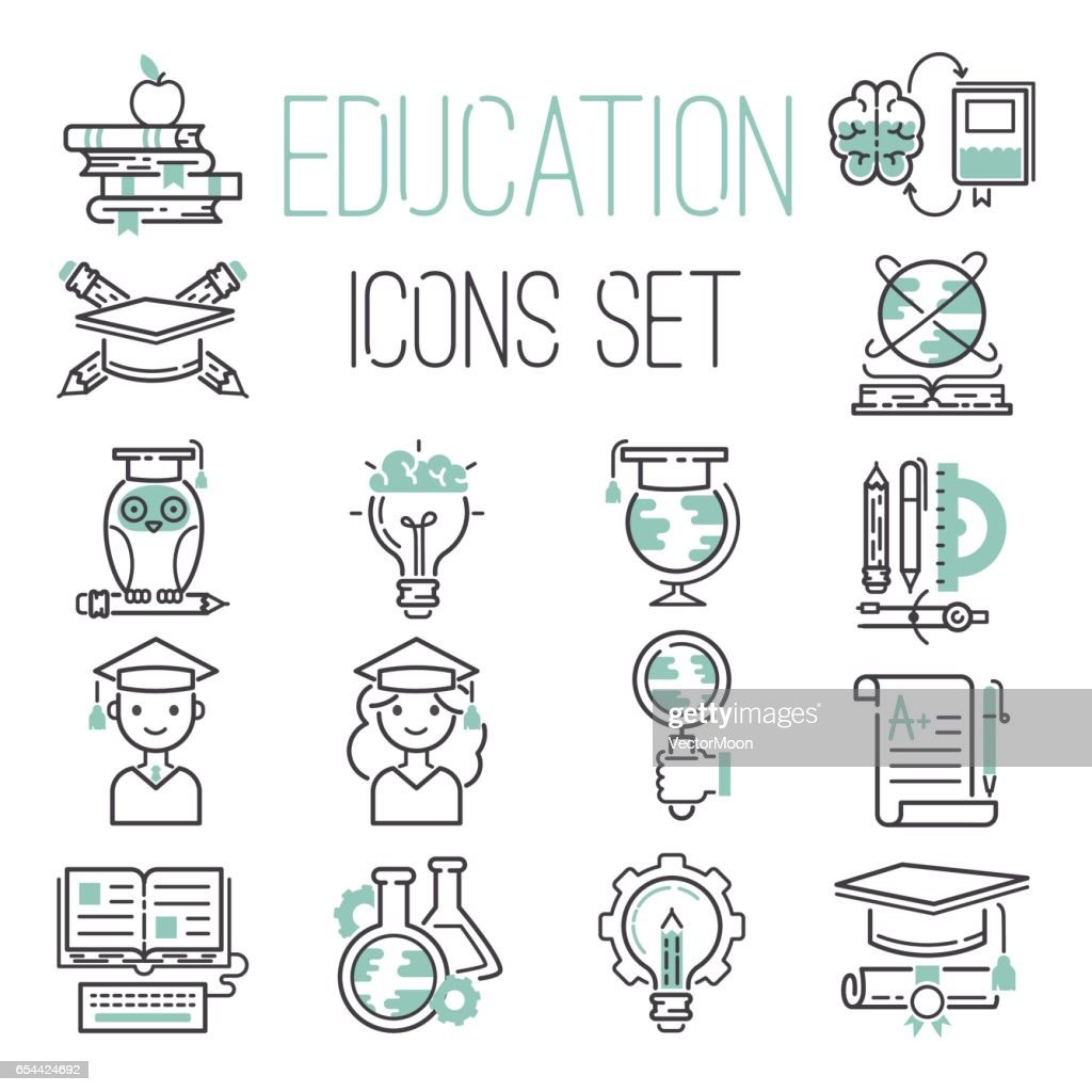 Education outline black school symbol and green icons set university knowledge thin sign graduation graduate learn diploma mathematics vector illustration
