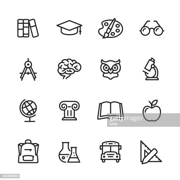 education - outline icon set - book stock illustrations