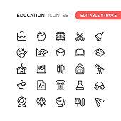 Education Outline Icons Editable Stroke