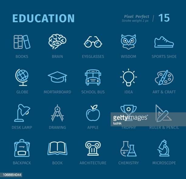 Education - Outline icons with captions