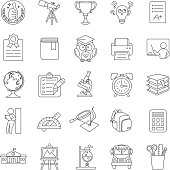 Education outline vector icons