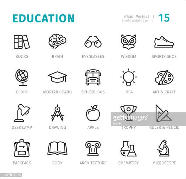 education - pixel perfect line icons with captions - reading stock illustrations