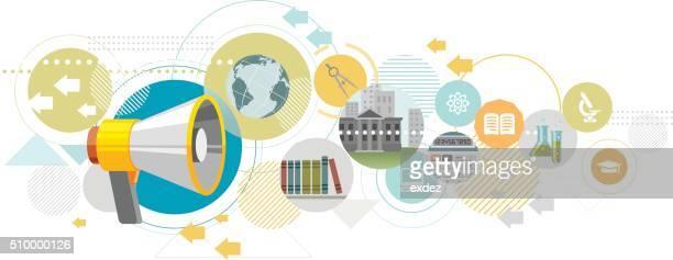 stockillustraties, clipart, cartoons en iconen met education promotion - klantbetrokkenheid