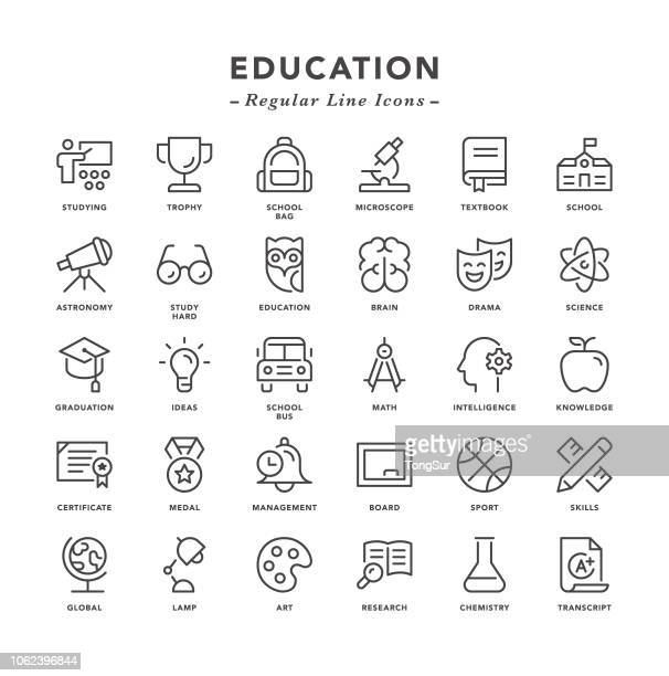 illustrazioni stock, clip art, cartoni animati e icone di tendenza di education - regular line icons - attitudine