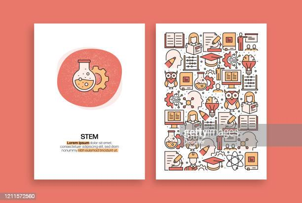 stem education related design. modern vector templates for brochure, cover, flyer and annual report. - stem topic stock illustrations