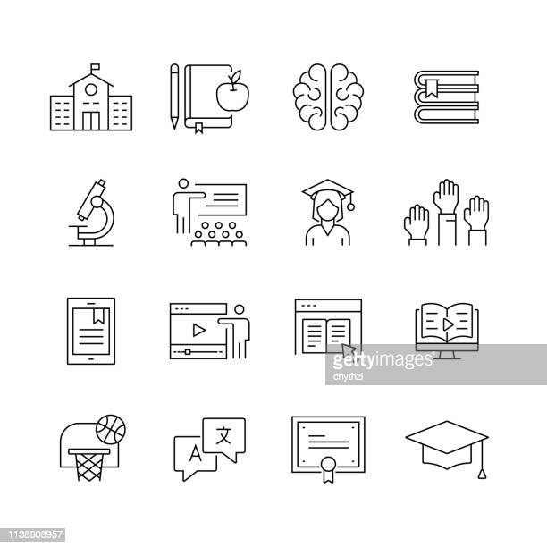 education related - set of thin line vector icons - catalogue stock illustrations
