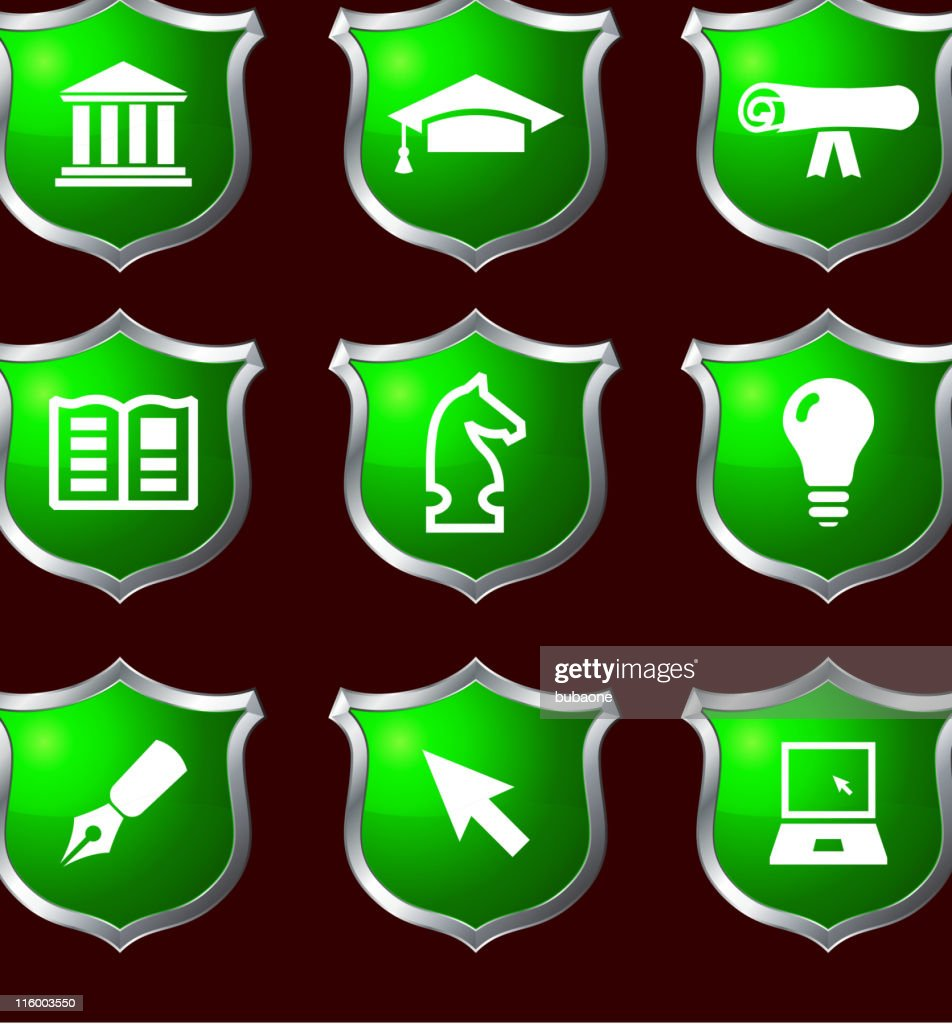 education royalty free vector icon set on shields
