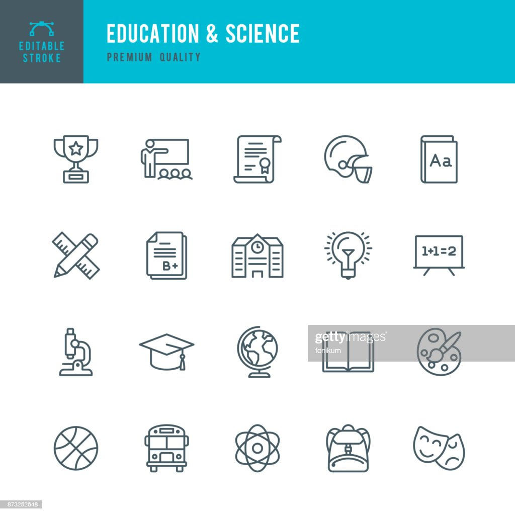 Education & Science - set of thin line vector icons : stock illustration