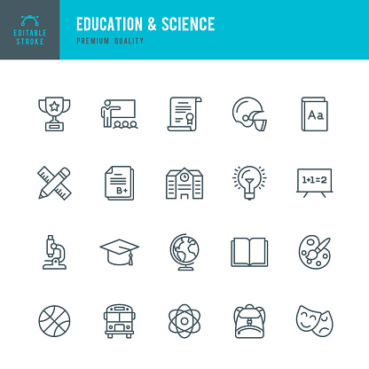 Education & Science - set of thin line vector icons - gettyimageskorea