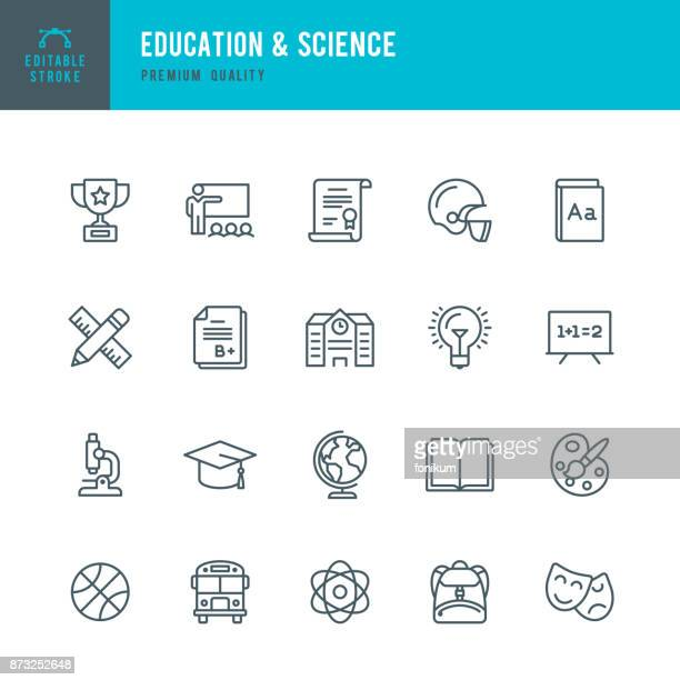 education & science - set of thin line vector icons - learning stock illustrations