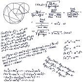 Education seamless pattern. Mathematical formula on whiteboard.