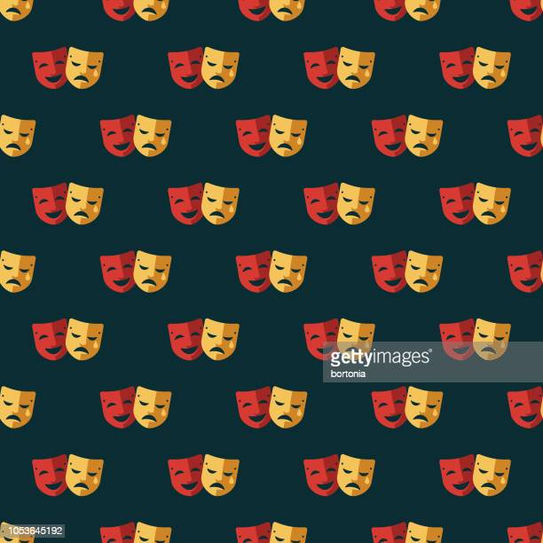 education seamless pattern - theater industry stock illustrations, clip art, cartoons, & icons