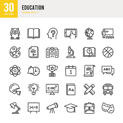 Education - set of thin line vector icons - gettyimageskorea