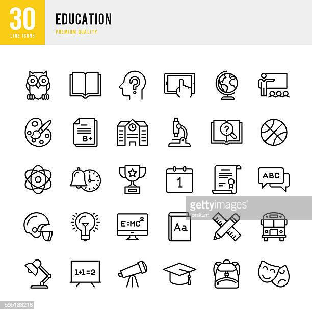 education - set of thin line vector icons - arts culture and entertainment stock illustrations
